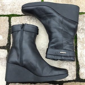 Aquatalia Black Leather Low Calf Wedge Boots